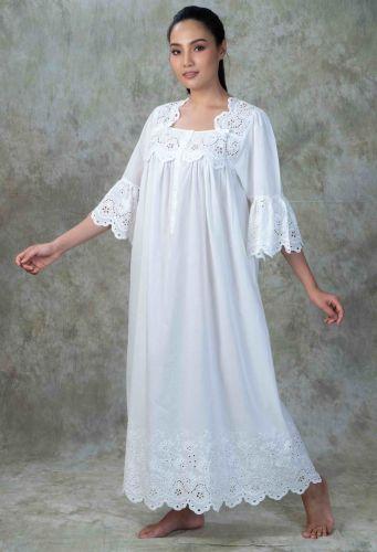 NEW! Luxury Cotton Lace Nightdress - Mareo