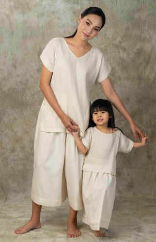 NEW! Linen - Tong Set (Blouse and Culottes)