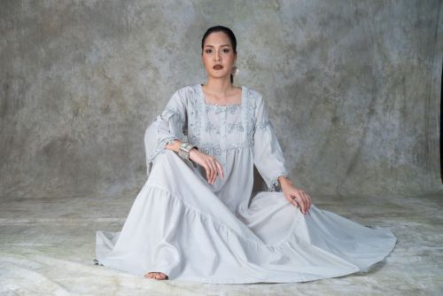 NEW! Gray Cotton Nightdress- REGENA